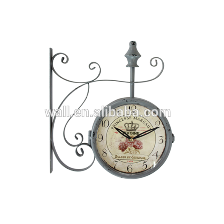 Chinese Furniture Stores Direct Factory Supplier Double Sides Iron Wall Clock
