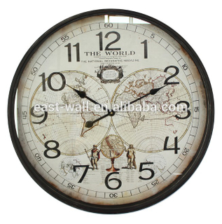 MDF Design Glass Surface 3D World Map Decor Wall Clock