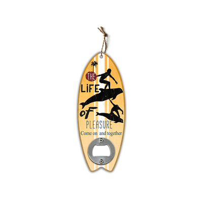 Promotional High Quality Custom One Handed Metal Mdf Surfboard Bottle Opener