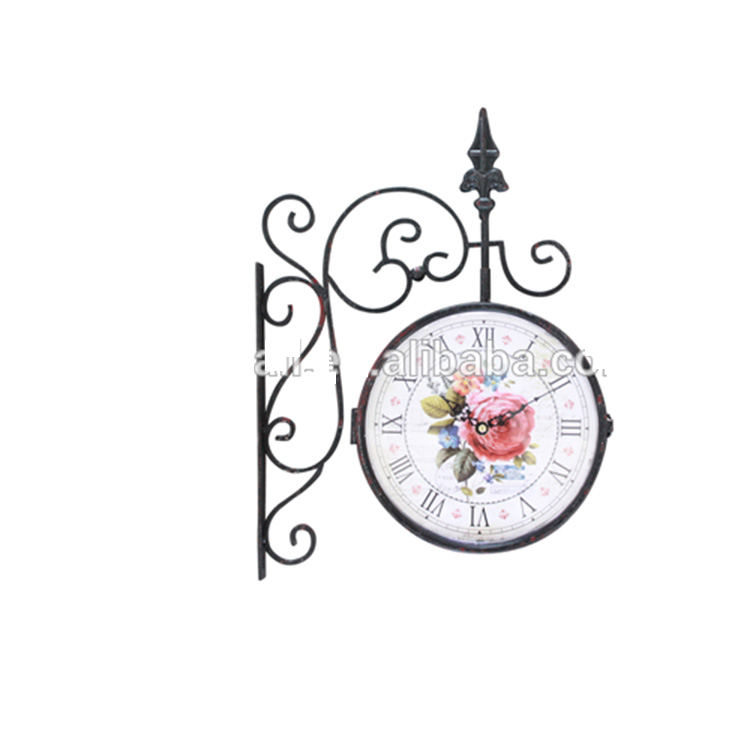 Home Decor For Small Kitchen Vintage Design Flower Signs Double Sides Clock