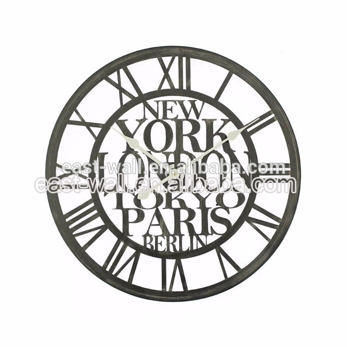 60X60X4.5Cm Roman Numerals Vintage Black Wall Clocks