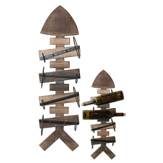 European Style Ancient Wall Mounted Red Wine Rack , Wall Hanging Wooden Wine
