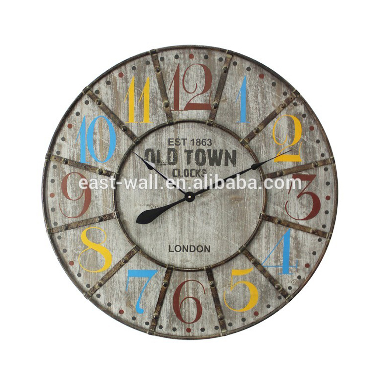 MDF Retro Iron Frame Clock Colorful Number Custom Background Color