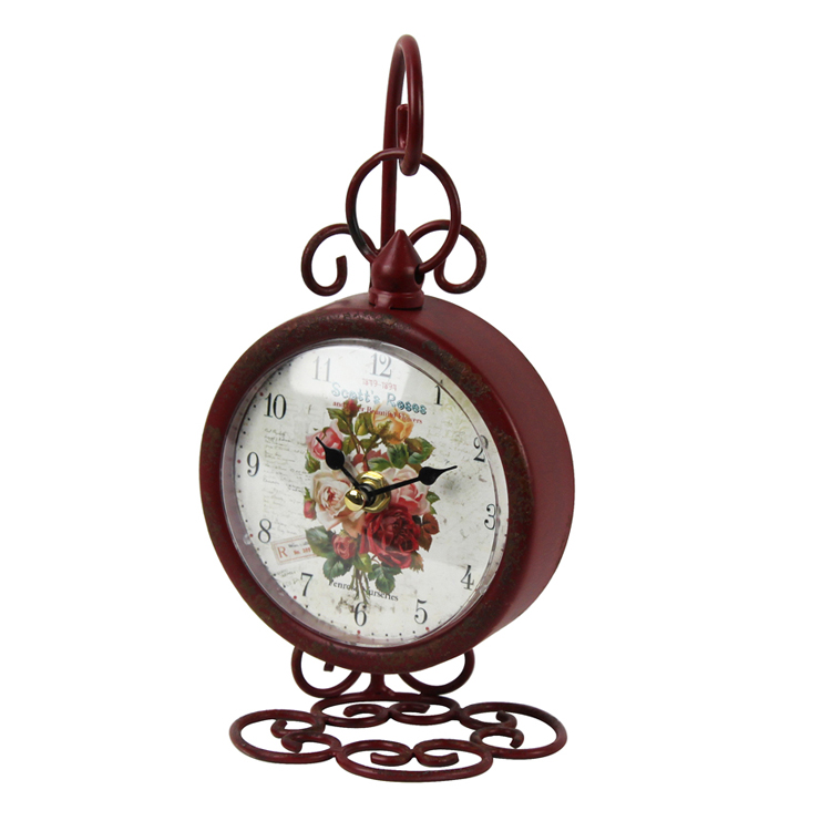 Custom High Quality Flower Pattern Design Vintage Swing Table Clock
