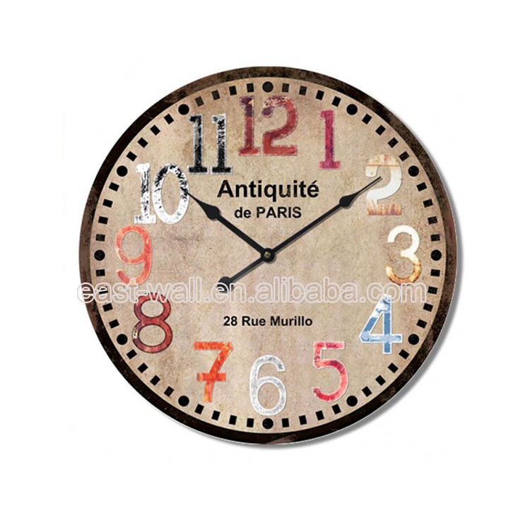 Custom Shape Printed French Country Tuscan Style Mdf Packaging For Wall Clock Clocks Home Decor