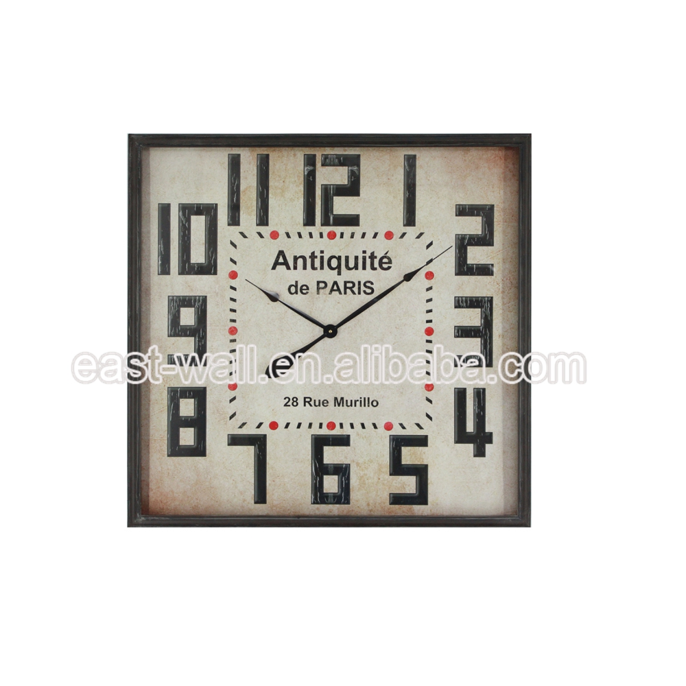 Modern Iron Decorative Rustic Craft Photo Frame Square Wall Clock