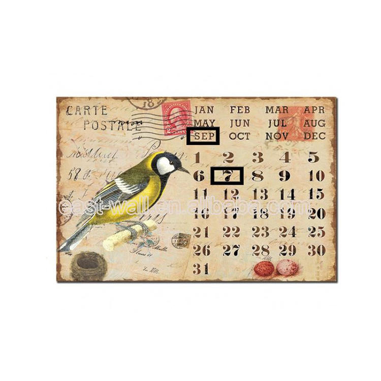 High Quality Calendar Custom Home Decor Metal Wall Plaques