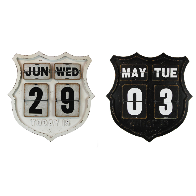 New Product Vintage Black White Two Colors Home Decoration Metal Calendar Hanging Sign Board