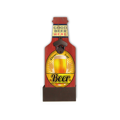 GB65034 Beer MDF+IRON Custom Wall Mount Cheap Bottle Opener