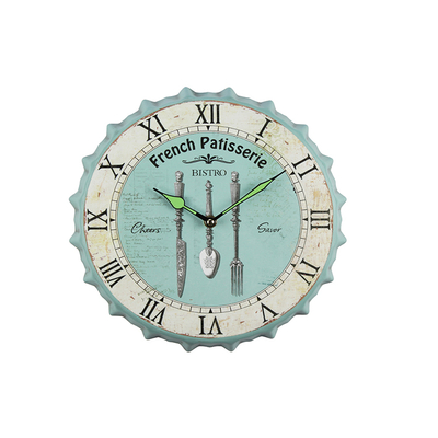 Factory Outlet Vintage Customizable Logo Iron For Restaurant Decoration Classic Blue Wall Clock