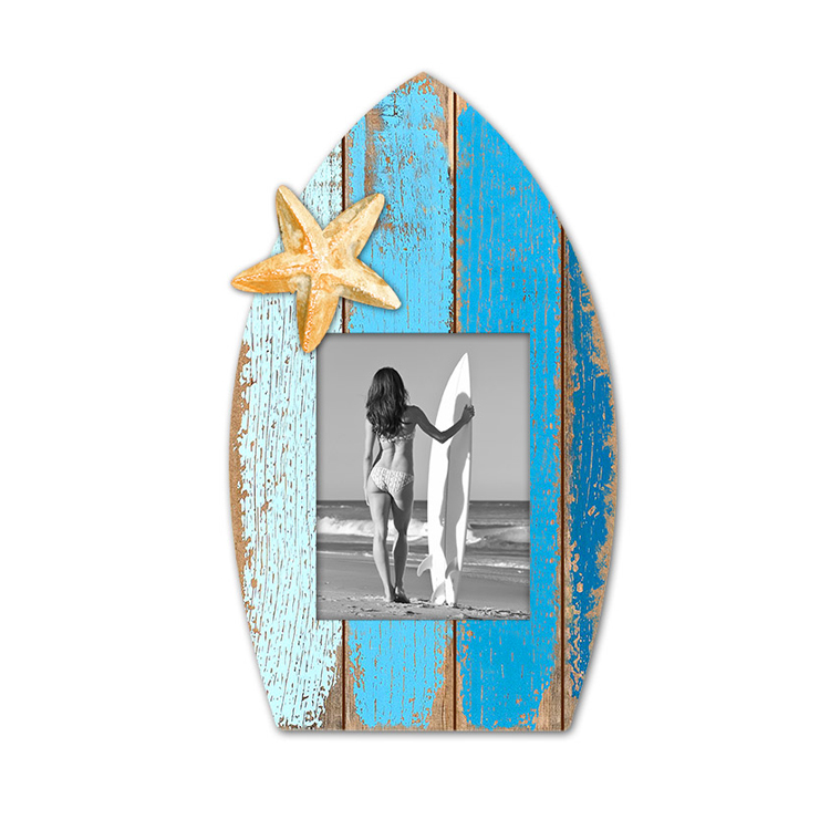 Wholesale Surfboard Shape Wooden Wall Photo Frame Custom Color