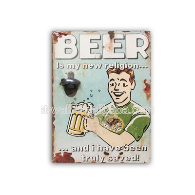Customization Interior Home Decoration Vintage Wall Mount Beer Bottle Opener