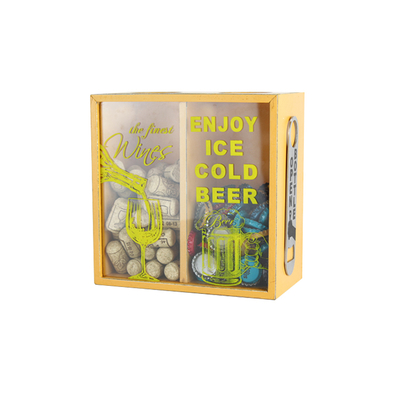 YC7042 MDF+IRON+GLASS+SCREEN Custom Logo Box With Bottle Opener