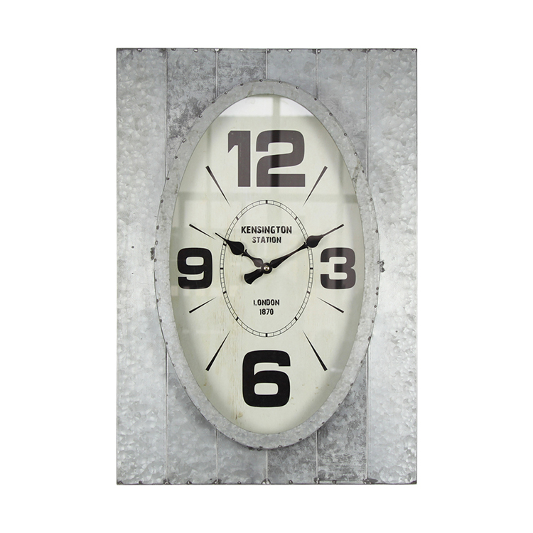 Finished Iron Metal Oval Wall Clock Decor Wall Plaque For Living Room Decoration