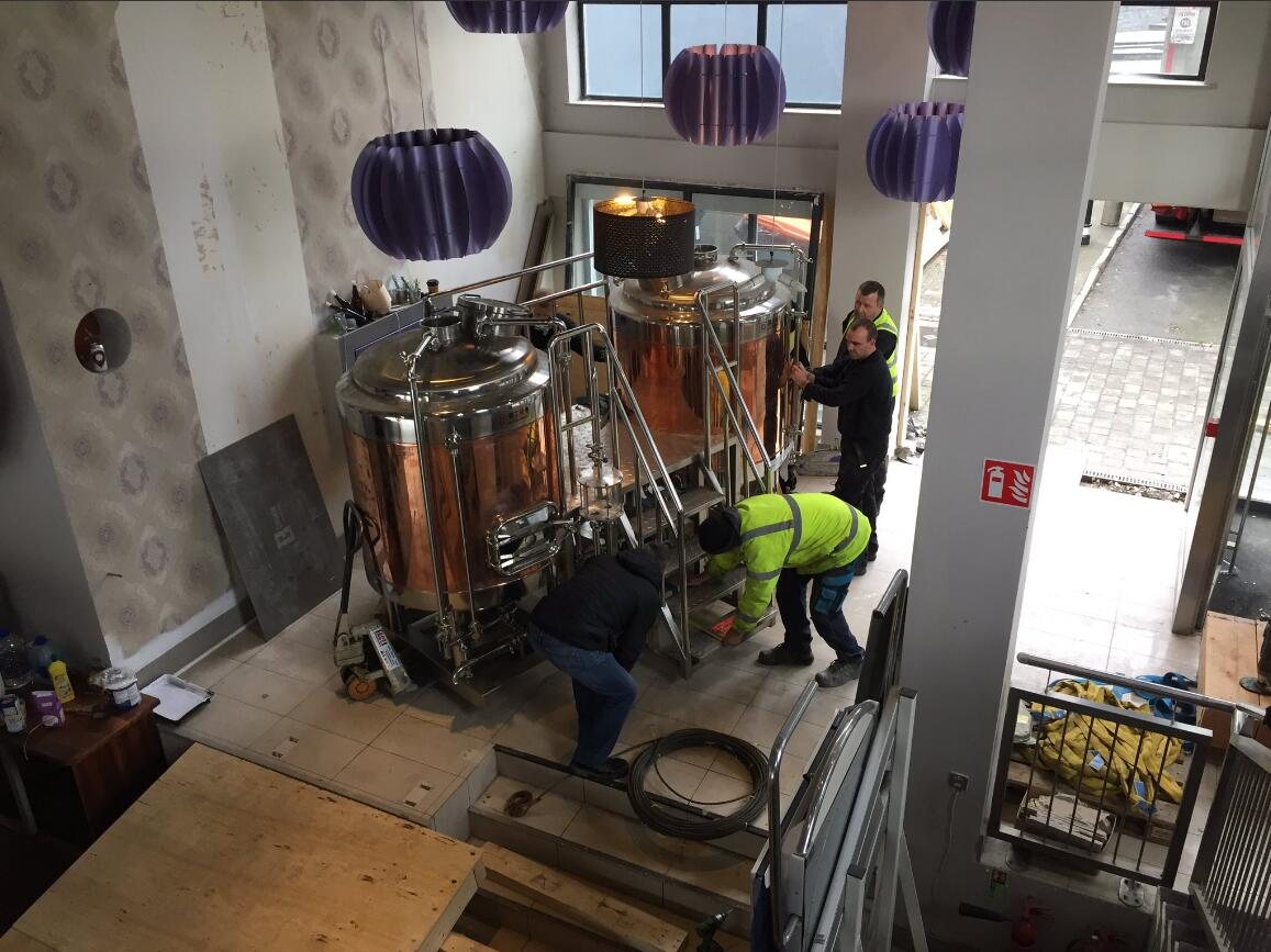 Copper brewhouse installed in customer's brewpub