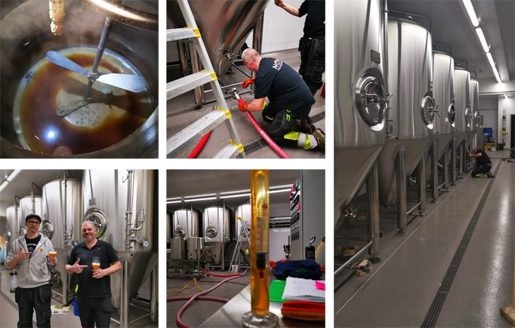 Beer brewing equipment installation by DEGONG