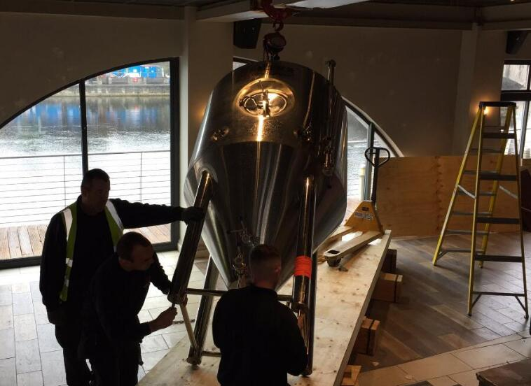 Fermentation tank installed in customer's brewpub