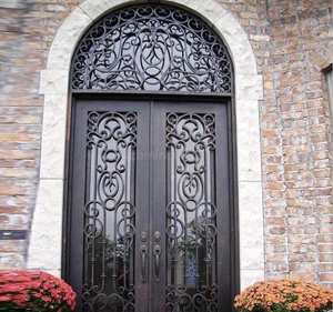 Modern Arch Top Scroll Picket Galvanized Iron Gate